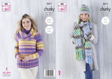 King Cole Chunky Sweater and Accessories Knitting Pattern , 5411